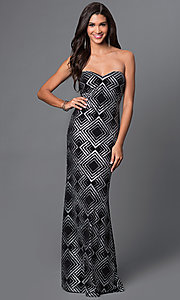 Image of strapless floor-length glitter-print dress Style: JU-47051 Front Image