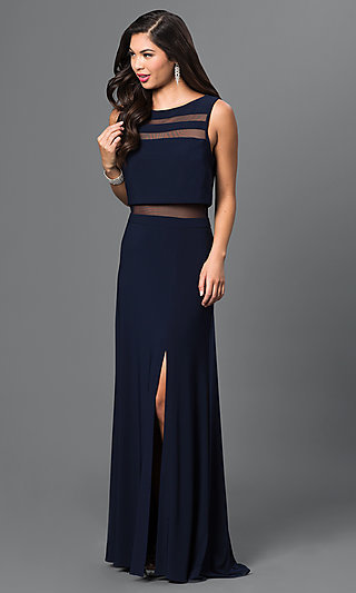 Floor-Length Sheer-Illusion Navy-Blue Formal Gown