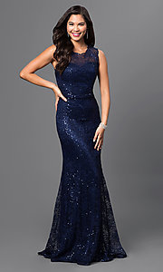 Image of sequin-lace floor-length formal gown Style: MF-E1822 Front Image