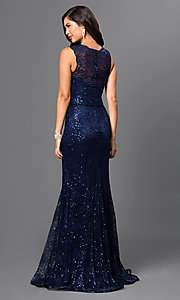 Image of sequin-lace floor-length formal gown Style: MF-E1822 Back Image