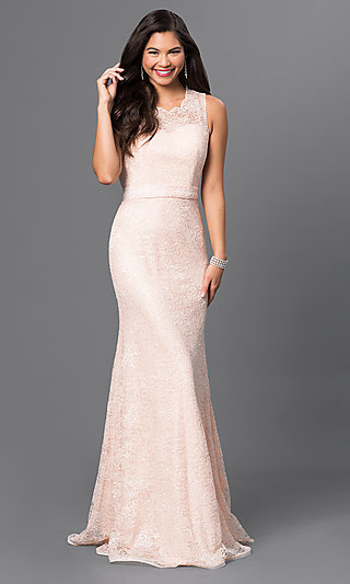 Sequin-Lace Floor-Length Formal Gown