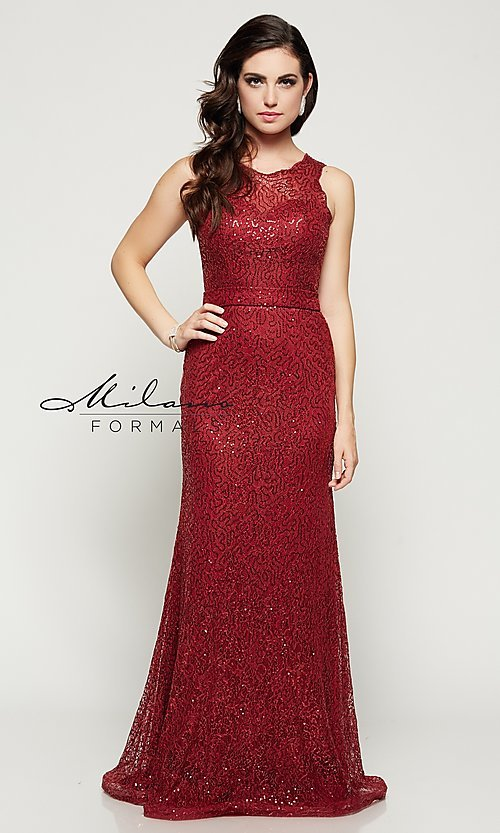 Image of sequin-lace floor-length formal gown Style: MF-E1822 Detail Image 3