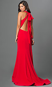 Image of long open-back red formal prom gown with train. Style: TI-P0514 Back Image