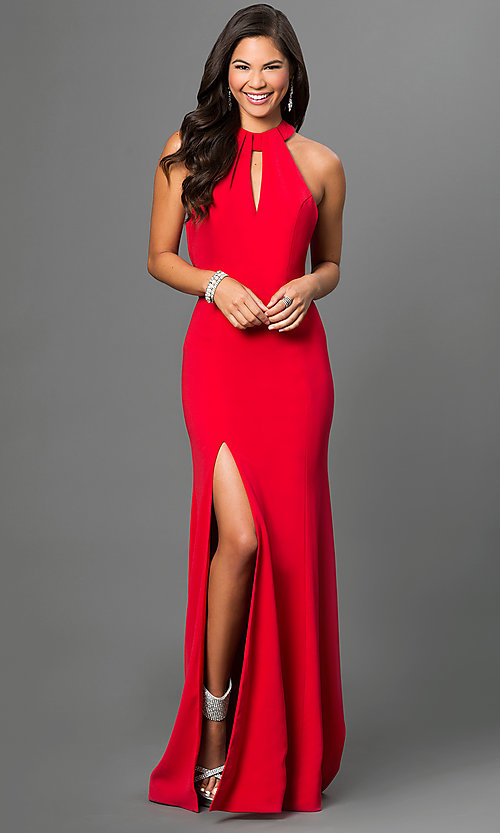 Image of long open-back red formal prom gown with train. Style: TI-P0514 Front Image