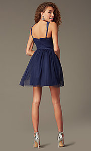 Image of embroidered v-neck short party dress Style: LP-23005 Back Image