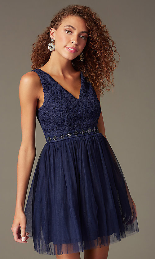 Image of embroidered v-neck short party dress Style: LP-23005 Front Image