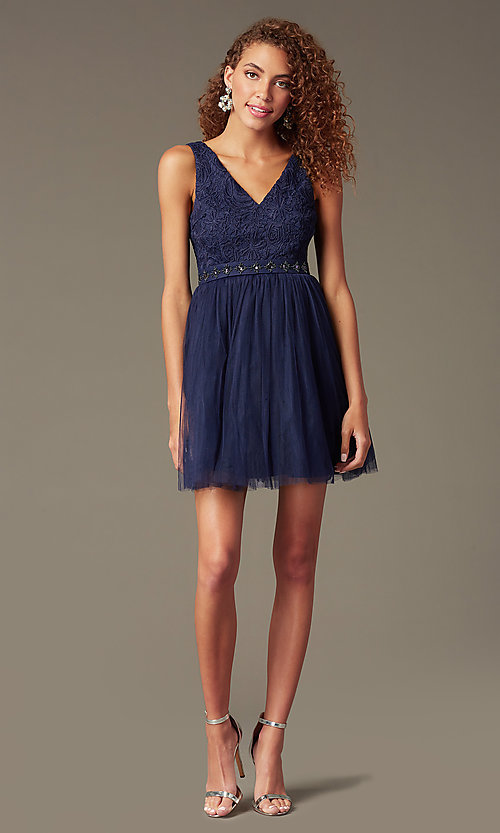 Image of embroidered v-neck short party dress Style: LP-23005 Detail Image 1
