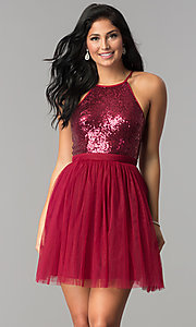 Image of sequined short semi-formal cocktail party dress. Style: LP-23557 Front Image