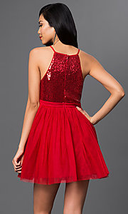 Image of sequined short semi-formal cocktail party dress. Style: LP-23557 Back Image