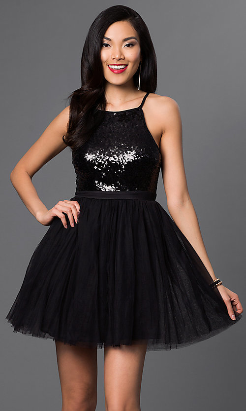 Image of sequined short semi-formal cocktail party dress. Style: LP-23557 Detail Image 3