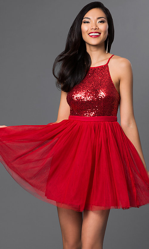 Image of sequined short semi-formal cocktail party dress. Style: LP-23557 Detail Image 2