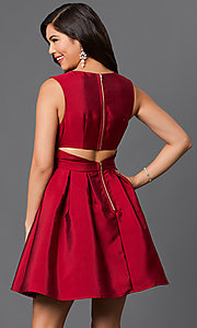 Image of short v-neck empire-waist homecoming party dress. Style: LP-23320 Back Image