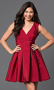 Image of short v-neck empire-waist homecoming party dress. Style: LP-23320 Front Image