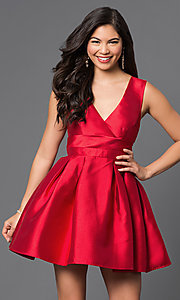 Image of short v-neck empire-waist homecoming party dress. Style: LP-23320 Detail Image 2