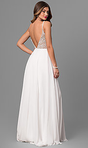 Image of jeweled v-neck open-back long prom dress Style: JO-JVN-JVN33701 Back Image