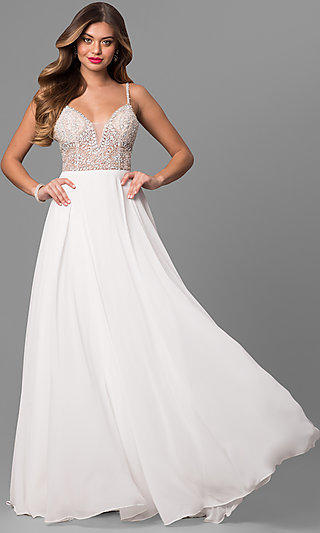 Jeweled V-Neck Open-Back Long Prom Dress