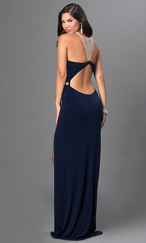 Image of Terani open-back rhinestone-embellished long gown. Style: TI-P1297 Front Image