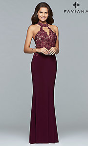 Image of Faviana high-neck open-back long formal gown. Style: FA-7750 Front Image