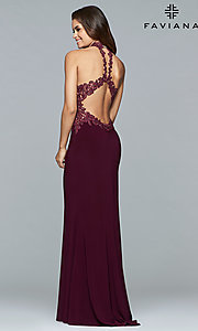 Image of Faviana high-neck open-back long formal gown. Style: FA-7750 Back Image
