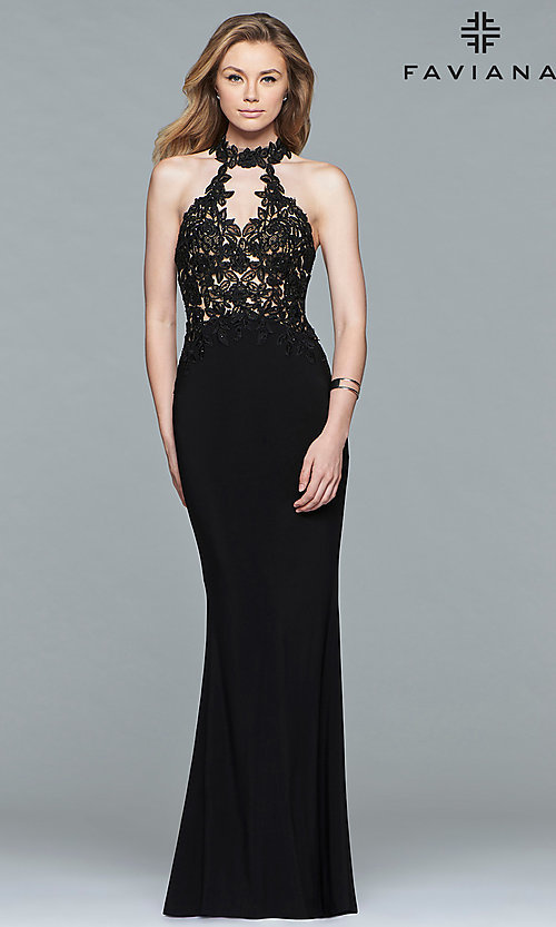 Image of Faviana high-neck open-back long formal gown. Style: FA-7750 Detail Image 1
