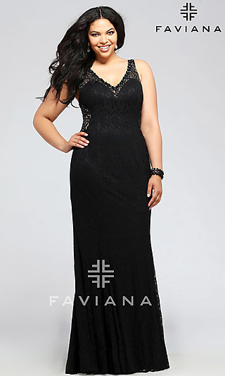 Faviana Lace Plus Size Formal Gown