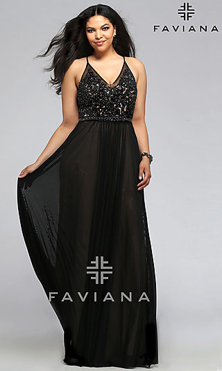 Formal Plus-Size Prom Dresses and Plus Designer Gowns