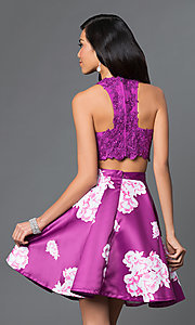 Image of racer-back lace-top two-piece short print dress. Style: NA-6219 Back Image