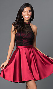 Image of short lace high-halter neck satin holiday dress. Style: NA-6217 Front Image