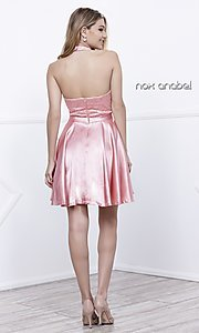 Image of short lace high-halter neck satin holiday dress. Style: NA-6217 Detail Image 4