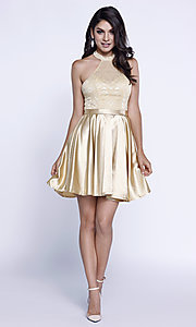 Image of short lace high-halter neck satin holiday dress. Style: NA-6217 Detail Image 2