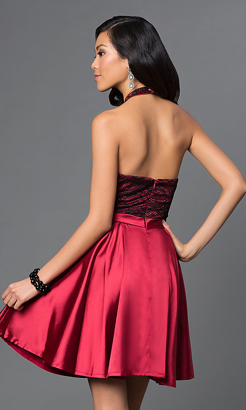 Image of short lace high-halter neck satin holiday dress. Style: NA-6217 Back Image