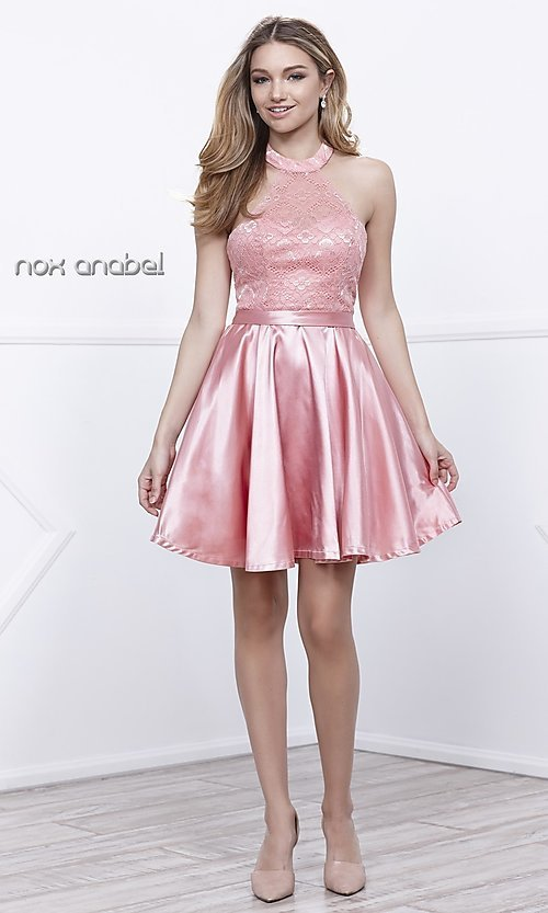 Image of short lace high-halter neck satin holiday dress. Style: NA-6217 Detail Image 3