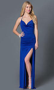 Image of royal blue long spaghetti strap open back prom dress Style: CQ-3131DK Front Image