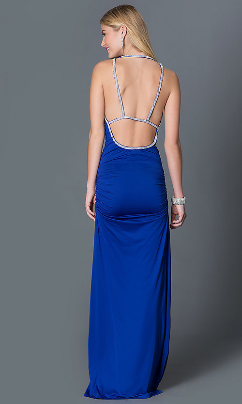 Image of royal blue long spaghetti strap open back prom dress Style: CQ-3131DK Back Image