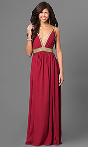 Image of Long Low V-Neck Backless Dress Style: CQ-4182DW Front Image