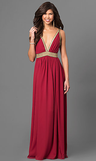Long Low V-Neck Backless Dress