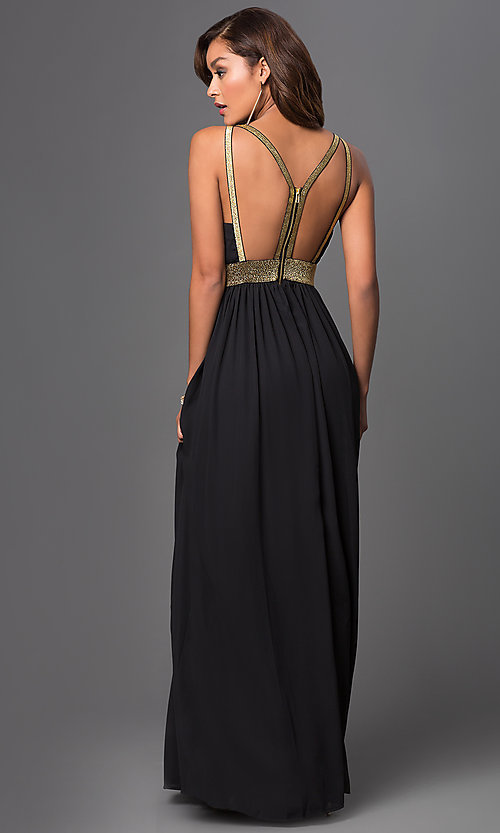 Image of Long Low V-Neck Backless Dress Style: CQ-4182DW Back Image