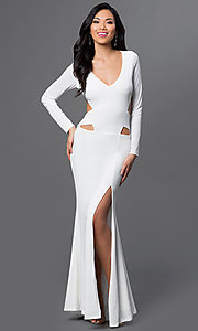 Long Sleeve Side Cut Out Low V-Neck Gown Style: CQ-4699DK Detail Image 2