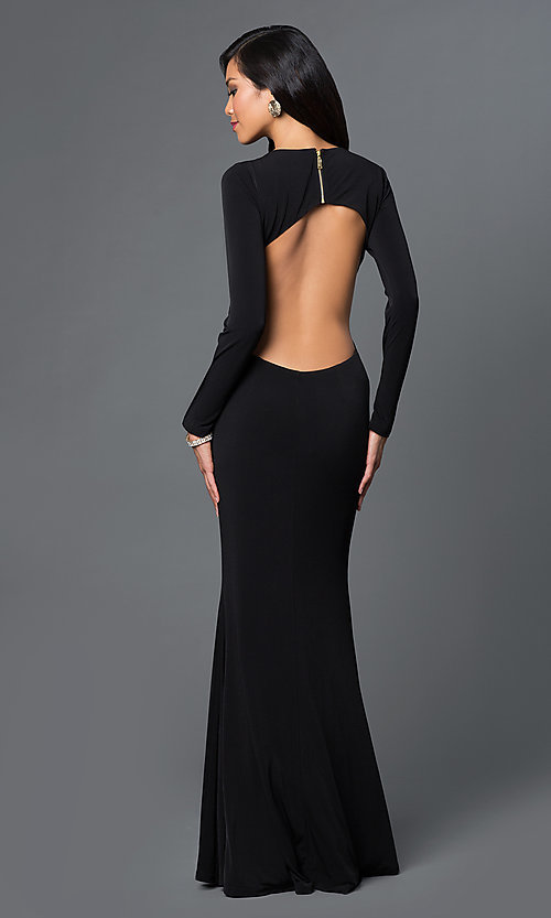 Long Sleeve Side Cut Out Low V-Neck Gown Style: CQ-4699DK Back Image