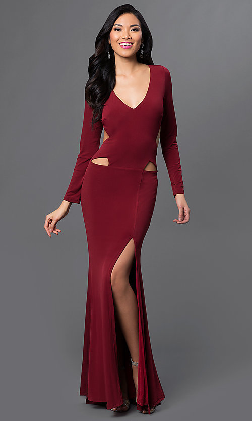 Long Sleeve Side Cut Out Low V-Neck Gown Style: CQ-4699DK Front Image
