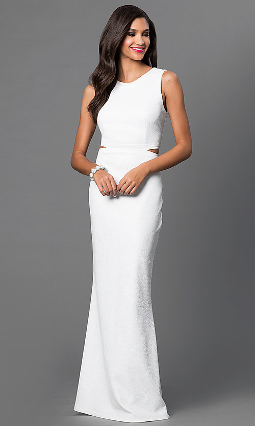 Image of long off-white formal dress with open back. Style: MB-6987 Front Image