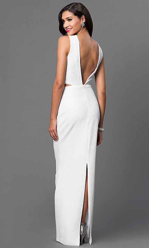 Image of long off-white formal dress with open back. Style: MB-6987 Back Image