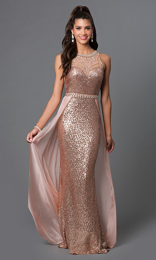 Long Sequined Chiffon-Overlay Formal Gown