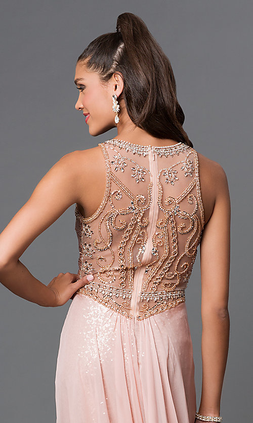 Long Sequined Chiffon Overlay Formal Gown