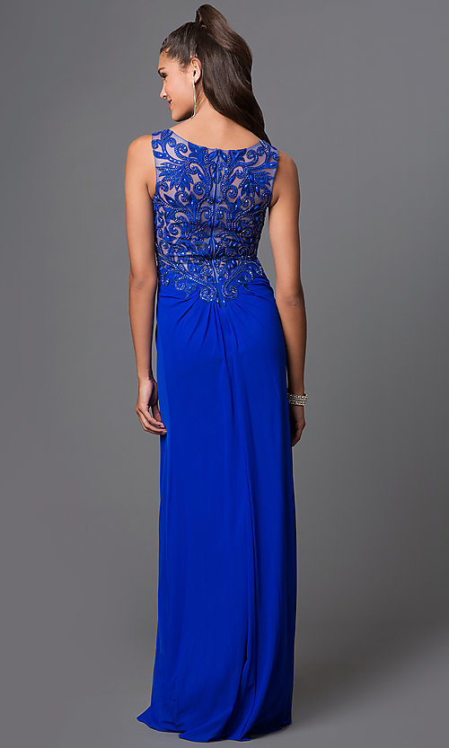 Image of empire-waist lace-back long prom dress. Style: FB-GL1377X Back Image