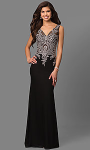 Image of lace-applique v-neck bodice long black gown. Style: FB-GL1351P Front Image