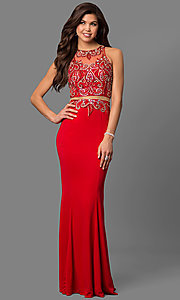 Image of beaded mock two-piece prom gown Style: FB-GL1338D Front Image