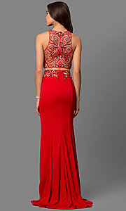 Image of beaded mock two-piece prom gown Style: FB-GL1338D Back Image