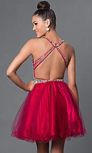 Image of short backless jewel-embellished babydoll dress. Style: FB-GS1311 Back Image
