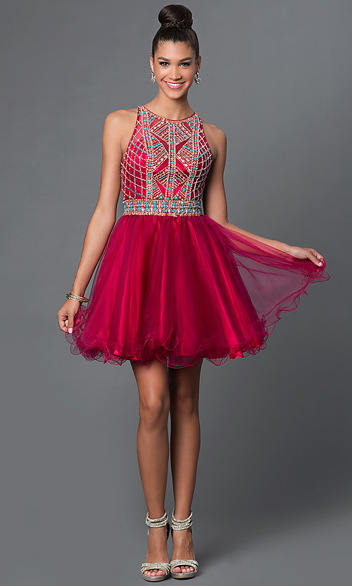 Image of short backless jewel-embellished babydoll dress. Style: FB-GS1311 Detail Image 2